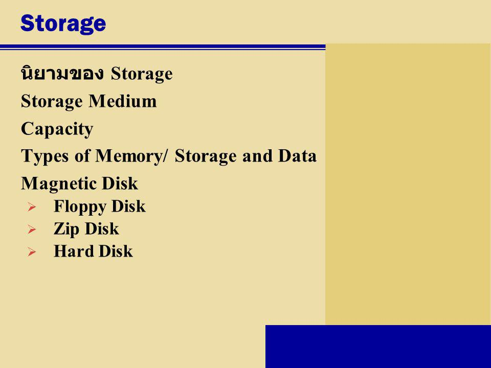 Storage นิยามของ Storage Storage Medium Capacity Types of Memory/ Storage and Data Magnetic Disk  Floppy Disk  Zip Disk  Hard Disk