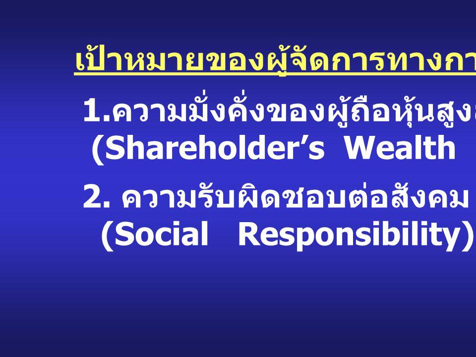เป้าหมายของผู้จัดการทางการเงิน 1. ความมั่งคั่งของผู้ถือหุ้นสูงสุด (Shareholder's Wealth Maximization) 2. ความรับผิดชอบต่อสังคม (Social Responsibility)