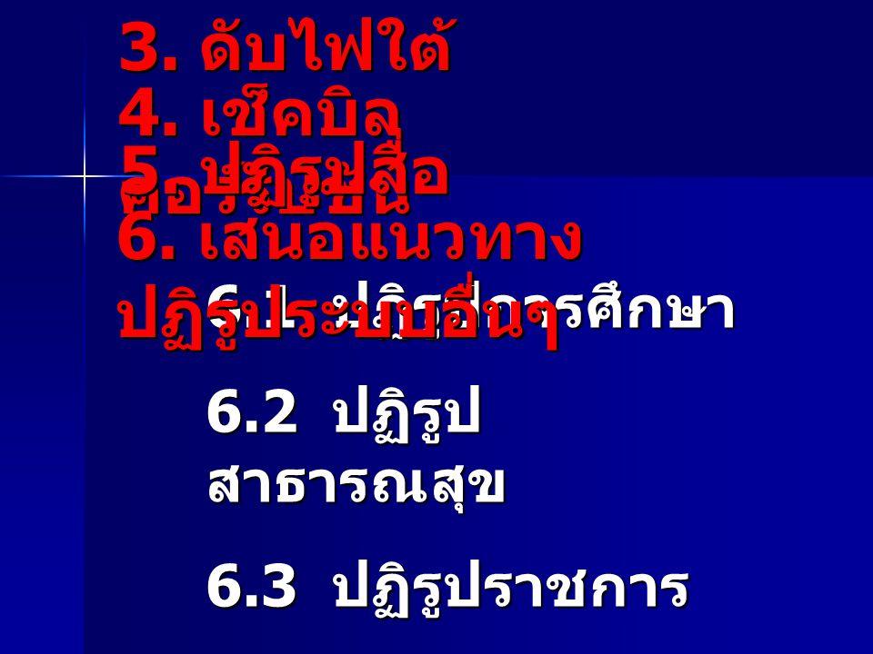 3. ดับไฟใต้ 6.1 ปฏิรูปการศึกษา 6.2 ปฏิรูป สาธารณสุข 6.3 ปฏิรูปราชการ 6.4 ปฏิรูปศาสนา และจริยธรรม 4. เช็คบิล คอร์รัปชัน 5. ปฏิรูปสื่อ 6. เสนอแนวทาง ปฏิ