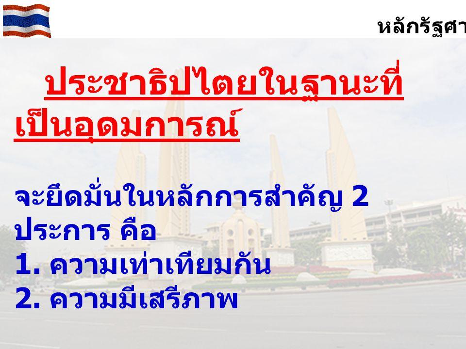 หลักรัฐศาสตร์ ประชาธิปไตยในฐานะที่เป็น รูปแบบการปกครอง 2.1 ระบบรัฐสภา (Parliamentary System) 2.1.1 ประมุขของรัฐ 2.1.2 รัฐสภา 2.1.3 คณะรัฐมนตรี 2.1.4 ศาล