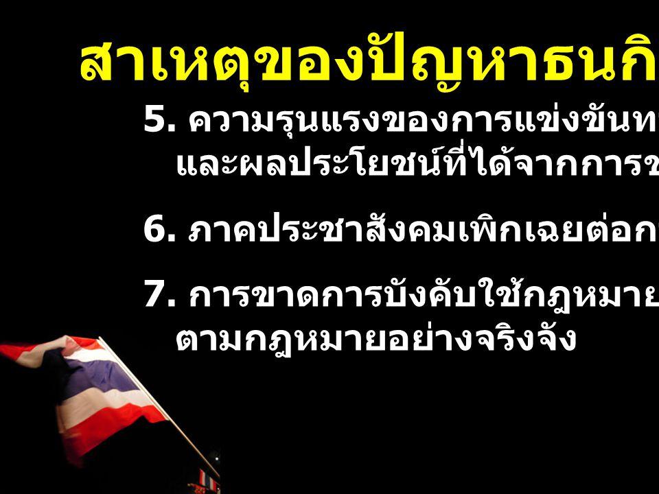 5.ความรุนแรงของการแข่งขันทางการเมือง และผลประโยชน์ที่ได้จากการชนะการแข่งขัน 6.