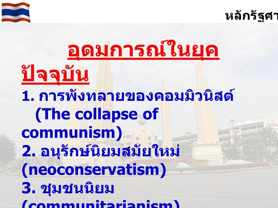 หลักรัฐศาสตร์ อุดมการณ์ในยุค ปัจจุบัน 1.การพังทลายของคอมมิวนิสต์ (The collapse of communism) 2.