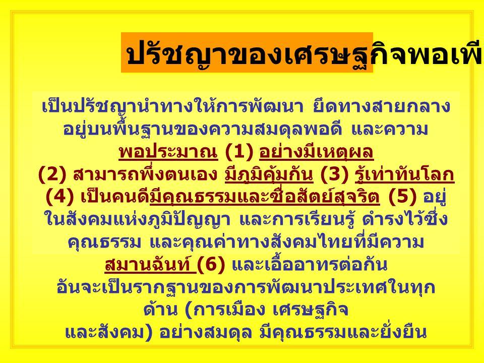 การนำ หลักการ เศรษฐกิจ พอเพียง มาใช้แก้ไข ปัญหาการ เมืองไทย