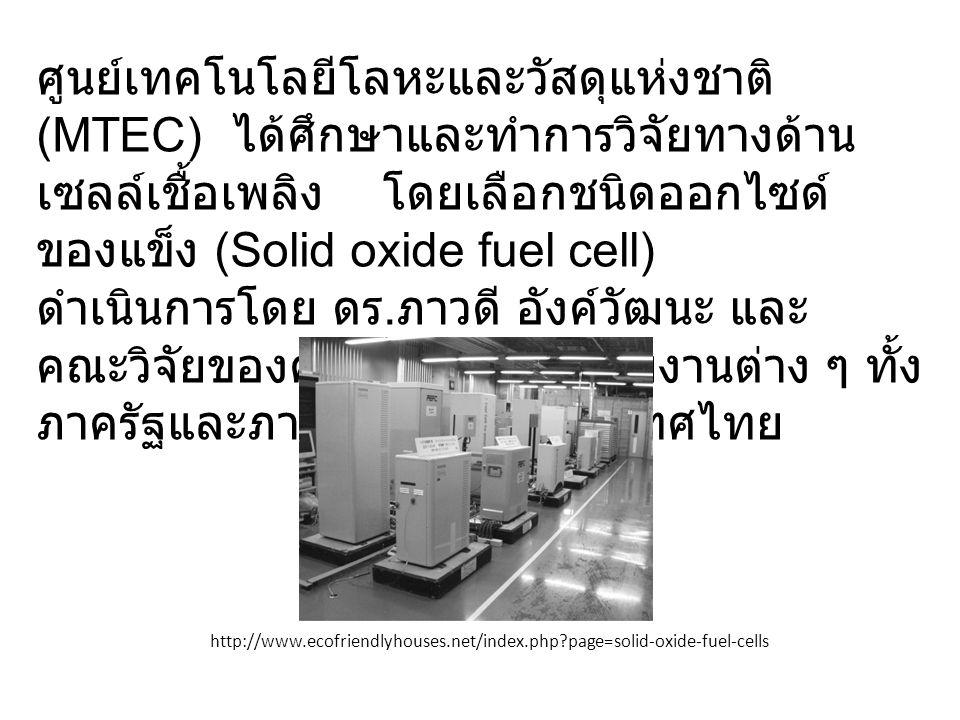 ศูนย์เทคโนโลยีโลหะและวัสดุแห่งชาติ (MTEC) ได้ศึกษาและทำการวิจัยทางด้าน เซลล์เชื้อเพลิง โดยเลือกชนิดออกไซด์ ของแข็ง (Solid oxide fuel cell) ดำเนินการโดย ดร.