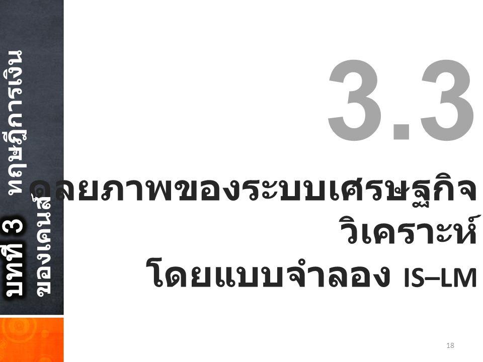3.3 ดุลยภาพของระบบเศรษฐกิจ วิเคราะห์ โดยแบบจำลอง IS–LM 18
