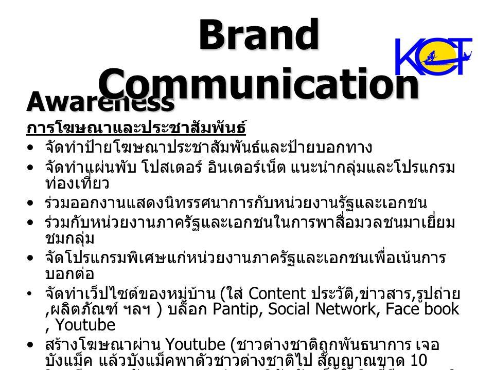 Awareness การโฆษณาและประชาสัมพันธ์ จัดทำป้ายโฆษณาประชาสัมพันธ์และป้ายบอกทาง จัดทำแผ่นพับ โปสเตอร์ อินเตอร์เน็ต แนะนำกลุ่มและโปรแกรม ท่องเที่ยว ร่วมออก