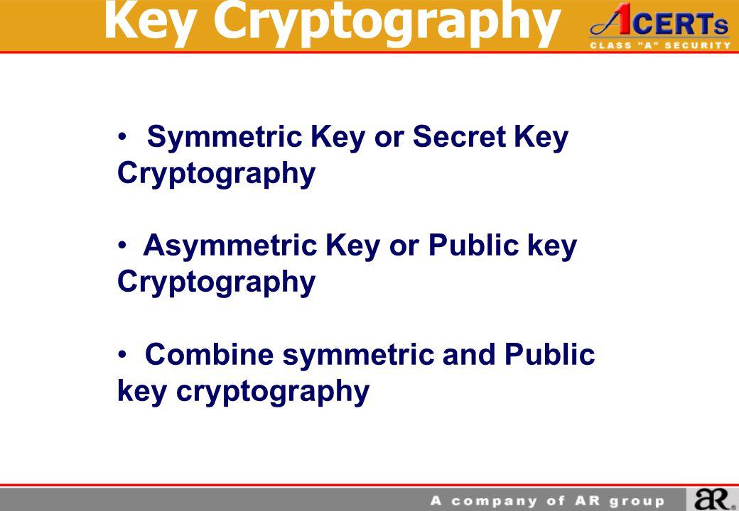 Symmetric Key or Secret Key Cryptography Asymmetric Key or Public key Cryptography Combine symmetric and Public key cryptography Key Cryptography