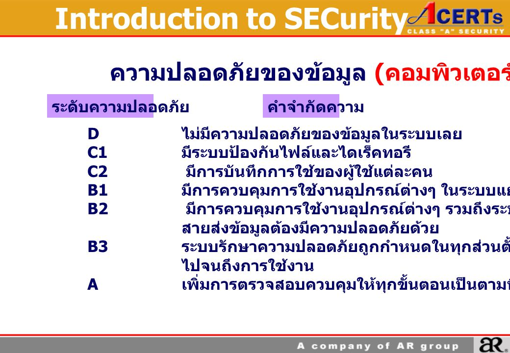 Introduction to SECurity ความปลอดภัยของข้อมูล ( คอมพิวเตอร์ ) D ไม่มีความปลอดภัยของข้อมูลในระบบเลย C1 มีระบบป้องกันไฟล์และไดเร็คทอรี C2 มีการบันทึกการใช้ของผู้ใช้แต่ละคน B1 มีการควบคุมการใช้งานอุปกรณ์ต่างๆ ในระบบแยกจากกัน.