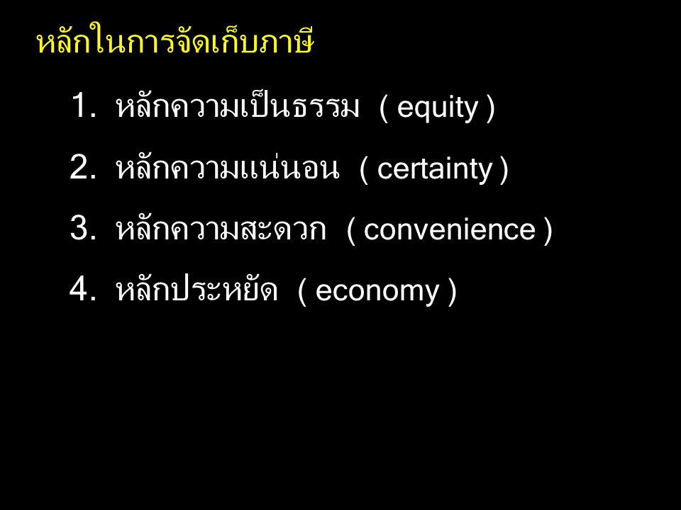 หลักในการจัดเก็บภาษี 1.หลักความเป็นธรรม ( equity ) 2.หลักความแน่นอน ( certainty ) 3.หลักความสะดวก ( convenience ) 4.หลักประหยัด ( economy )
