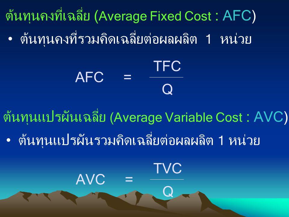 ต้นทุนคงที่เฉลี่ย ( Average Fixed Cost : AFC) ต้นทุนคงที่รวมคิดเฉลี่ยต่อผลผลิต 1 หน่วย AFC = TFC Q ต้นทุนแปรผันเฉลี่ย (Average Variable Cost : AVC) ต้