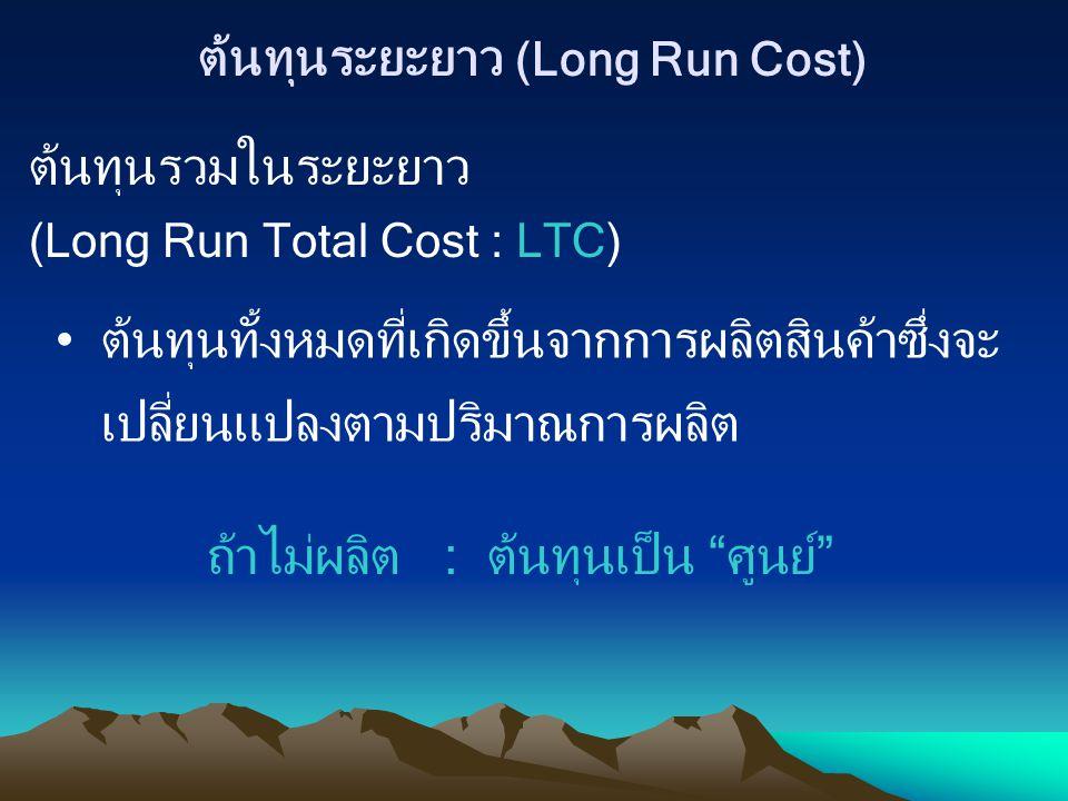 ต้นทุนระยะยาว (Long Run Cost) ต้นทุนรวมในระยะยาว (Long Run Total Cost : LTC) ต้นทุนทั้งหมดที่เกิดขึ้นจากการผลิตสินค้าซึ่งจะ เปลี่ยนแปลงตามปริมาณการผลิ