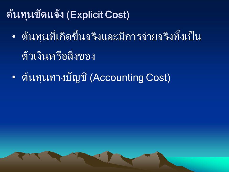 ต้นทุนไม่ชัดแจ้ง / ต้นทุนแอบแฝง (Implicit Cost) ต้นทุนที่ไม่ได้จ่ายออกไปจริงๆ แต่ได้ประเมินขึ้น เป็นต้นทุนซึ่งอยู่ในรูปของ ต้นทุนค่าเสียโอกาส ของปัจจัยการผลิตที่นำมาผลิตสินค้า