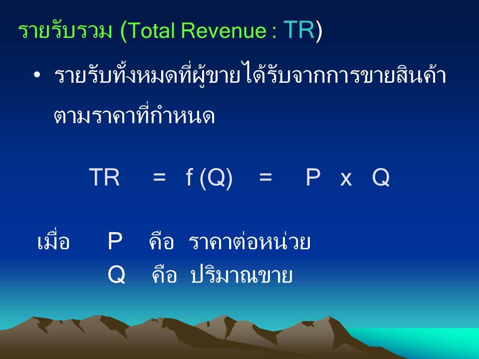 รายรับรวม ( Total Revenue : TR) รายรับทั้งหมดที่ผู้ขายได้รับจากการขายสินค้า ตามราคาที่กำหนด TR = f (Q) = P x Q เมื่อP คือ ราคาต่อหน่วย Q คือ ปริมาณขาย