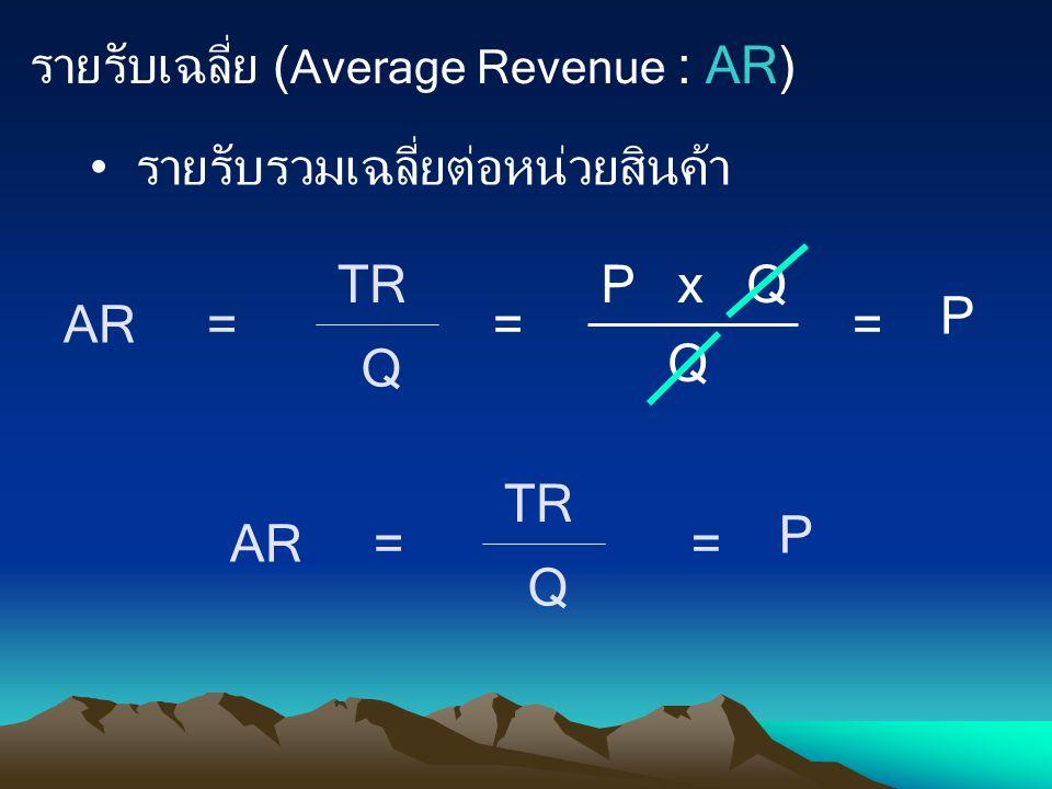 รายรับเฉลี่ย ( Average Revenue : AR) รายรับรวมเฉลี่ยต่อหน่วยสินค้า AR = TR Q = P x Q Q = P AR = TR Q = P