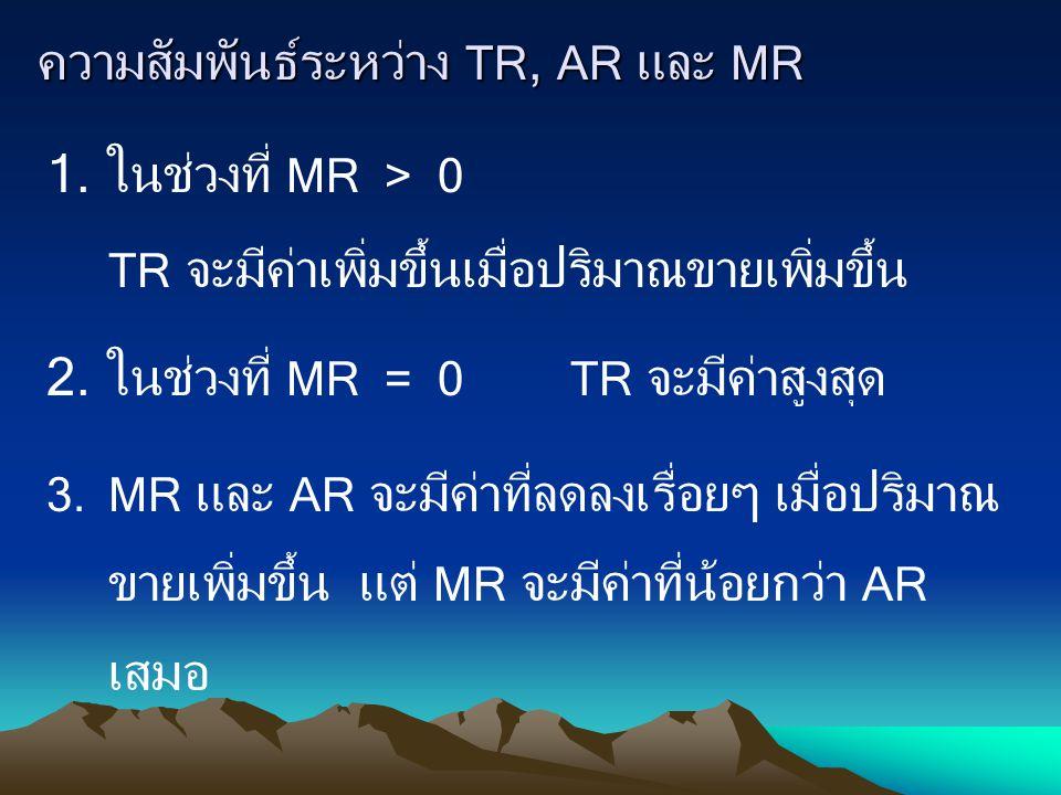 ความสัมพันธ์ระหว่าง TR, AR และ MR 1.ในช่วงที่ MR > 0 TR จะมีค่าเพิ่มขึ้นเมื่อปริมาณขายเพิ่มขึ้น 2.ในช่วงที่ MR = 0 TR จะมีค่าสูงสุด 3.MR และ AR จะมีค่