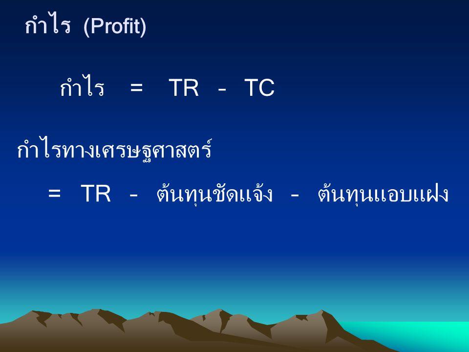 กำไร (Profit) กำไร = TR – TC กำไรทางเศรษฐศาสตร์ = TR – ต้นทุนชัดแจ้ง – ต้นทุนแอบแฝง