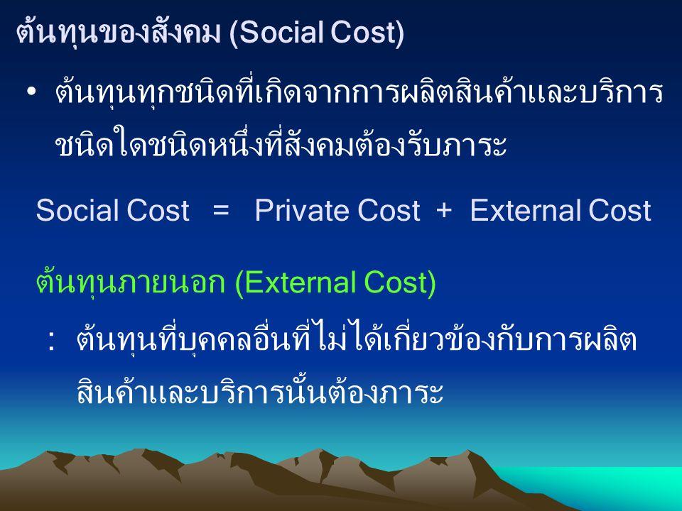 ต้นทุนของสังคม (Social Cost) ต้นทุนทุกชนิดที่เกิดจากการผลิตสินค้าและบริการ ชนิดใดชนิดหนึ่งที่สังคมต้องรับภาระ Social Cost = Private Cost + External Co