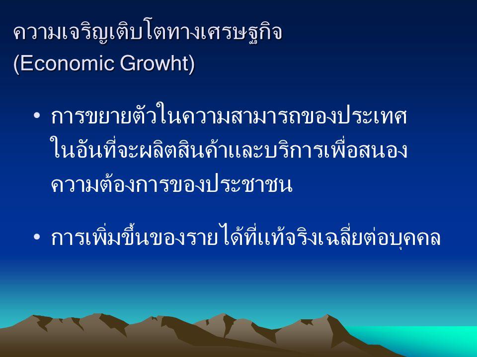 จุดมุ่งหมายของการพัฒนาเศรษฐกิจ 1.เพื่อทำให้รายได้ประชาชาติสูงขึ้น 2.เพื่อให้อัตราการว่าจ้างทำงานอยู่ในระดับสูง 3.เพื่อสร้างและรักษาเสถียรภาพ ด้านราคาสินค้าทั่วๆ ไป 4.เพื่อให้ดุลการชำระเงินสมดุล 5.เพื่อให้มีการกระจายรายได้อย่างเสมอภาค และยุติธรรม 6.เพื่อกระจายความเจริญสู่ท้องถิ่นต่างๆ
