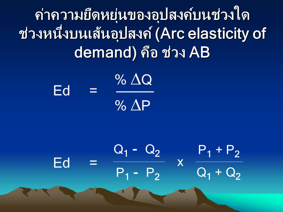 ค่าความยืดหยุ่นของอุปสงค์บนช่วงใด ช่วงหนึ่งบนเส้นอุปสงค์ (Arc elasticity of demand) คือ ช่วง AB Ed = %  Q %  P Q 1 - Q 2 Q 1 + Q 2 P 1 - P 2 P 1 + P