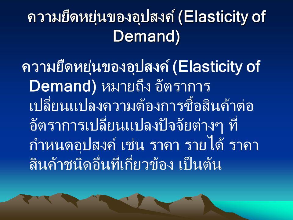 ความยืดหยุ่นของอุปสงค์ (Elasticity of Demand) ความยืดหยุ่นของอุปสงค์ (Elasticity of Demand) หมายถึง อัตราการ เปลี่ยนแปลงความต้องการซื้อสินค้าต่อ อัตรา