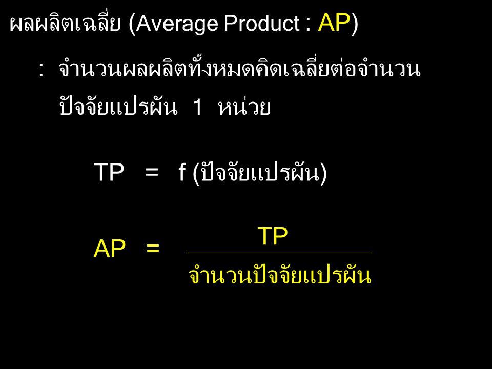ผลผลิตเฉลี่ย ( Average Product : AP) : จำนวนผลผลิตทั้งหมดคิดเฉลี่ยต่อจำนวน ปัจจัยแปรผัน 1 หน่วย TP = f (ปัจจัยแปรผัน) AP = TP จำนวนปัจจัยแปรผัน