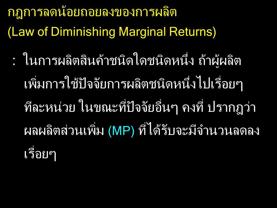 กฎการลดน้อยถอยลงของการผลิต (Law of Diminishing Marginal Returns) : ในการผลิตสินค้าชนิดใดชนิดหนึ่ง ถ้าผู้ผลิต เพิ่มการใช้ปัจจัยการผลิตชนิดหนึ่งไปเรื่อย