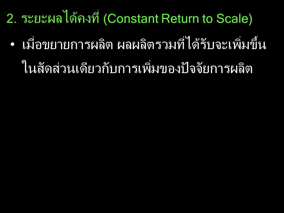 2. ระยะผลได้คงที่ (Constant Return to Scale) เมื่อขยายการผลิต ผลผลิตรวมที่ได้รับจะเพิ่มขึ้น ในสัดส่วนเดียวกับการเพิ่มของปัจจัยการผลิต