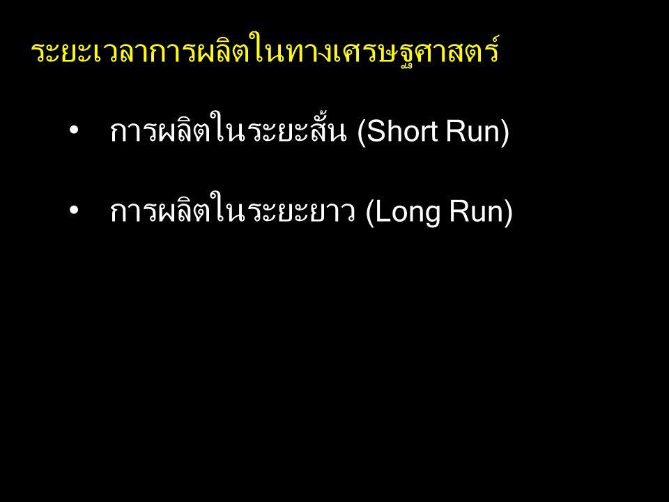 ระยะเวลาการผลิตในทางเศรษฐศาสตร์ การผลิตในระยะสั้น (Short Run) การผลิตในระยะยาว (Long Run)