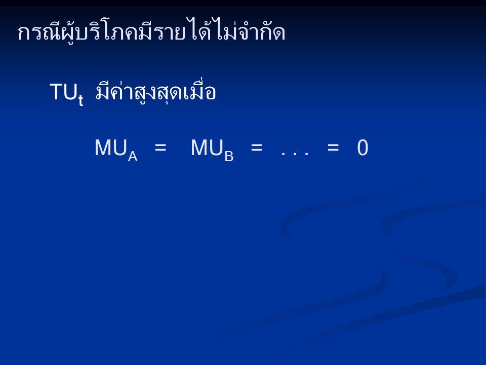 กรณีผู้บริโภคมีรายได้ไม่จำกัด TU t มีค่าสูงสุดเมื่อ MU A = MU B =... = 0