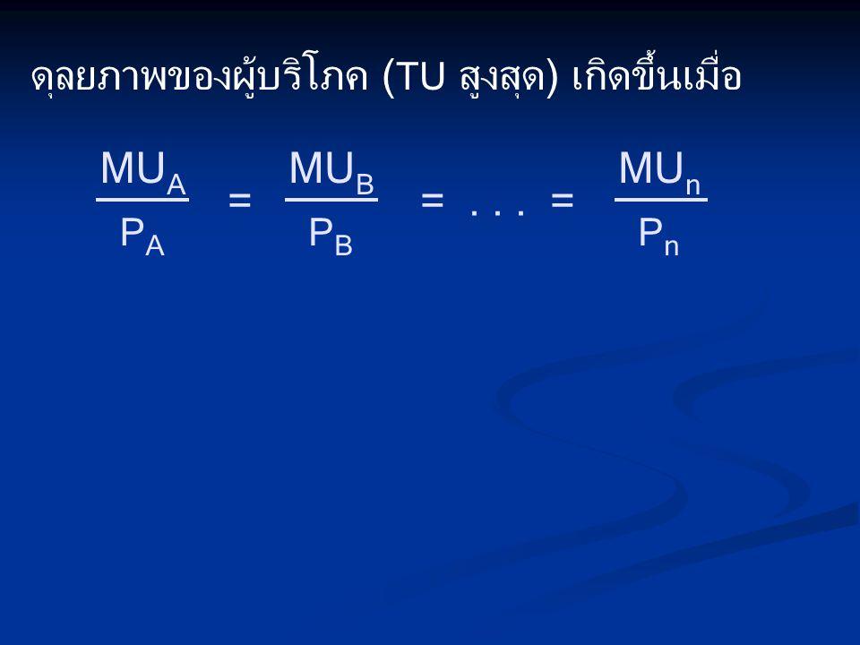 ดุลยภาพของผู้บริโภค ( TU สูงสุด) เกิดขึ้นเมื่อ PAPA MU A ==... = PBPB MU B PnPn MU n