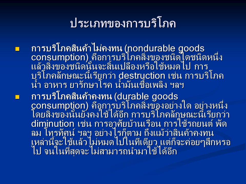 ประเภทของการบริโภค การบริโภคสินค้าไม่คงทน (nondurable goods consumption) คือการบริโภคสิ่งของชนิดใดชนิดหนึ่ง แล้วสิ่งของชนิดนั้นจะสิ้นเปลืองหรือใช้หมดไ