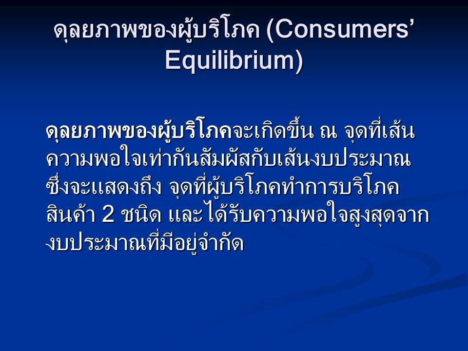ดุลยภาพของผู้บริโภค (Consumers' Equilibrium) ดุลยภาพของผู้บริโภคจะเกิดขึ้น ณ จุดที่เส้น ความพอใจเท่ากันสัมผัสกับเส้นงบประมาณ ซึ่งจะแสดงถึง จุดที่ผู้บร