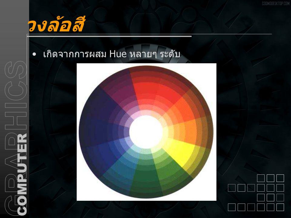 วงล้อสี เกิดจากการผสม Hue หลายๆ ระดับ