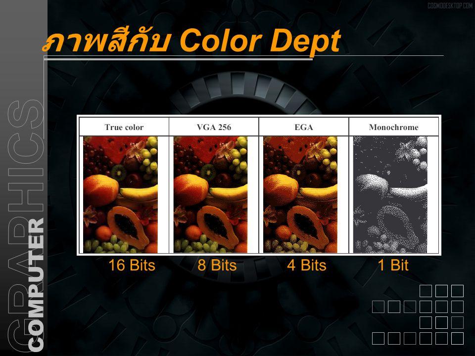 ภาพสีกับ Color Dept 16 Bits8 Bits4 Bits1 Bit