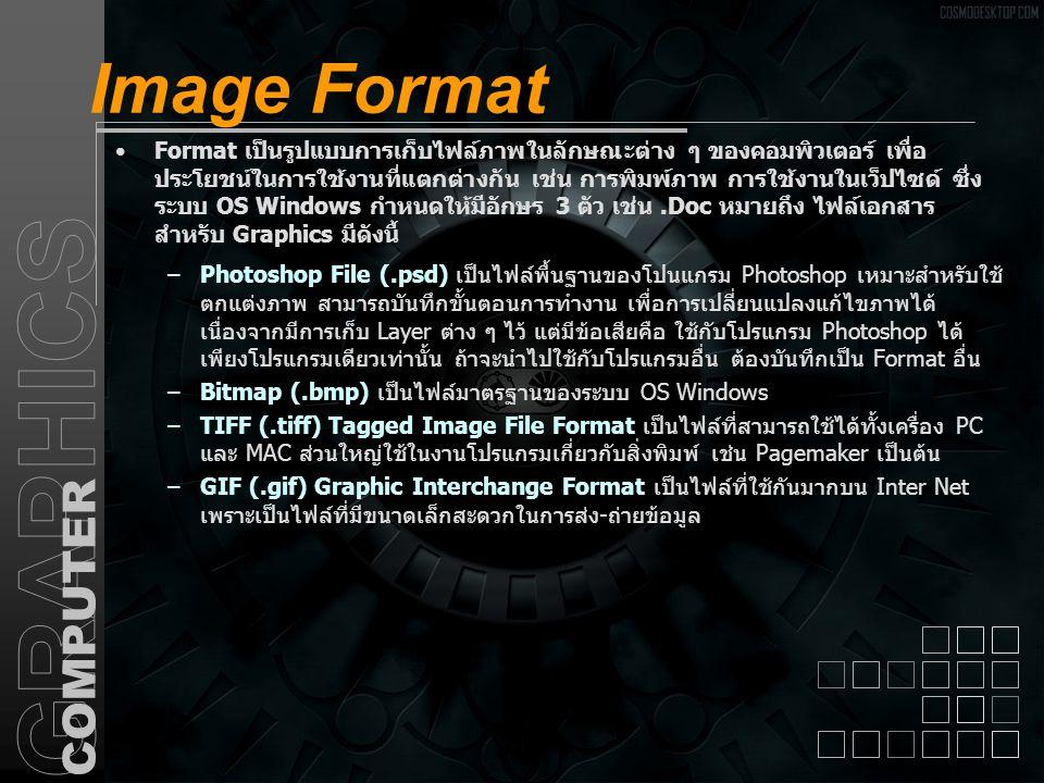 Image Format Format เป็นรูปแบบการเก็บไฟล์ภาพในลักษณะต่าง ๆ ของคอมพิวเตอร์ เพื่อ ประโยชน์ในการใช้งานที่แตกต่างกัน เช่น การพิมพ์ภาพ การใช้งานในเว็ปไซด์
