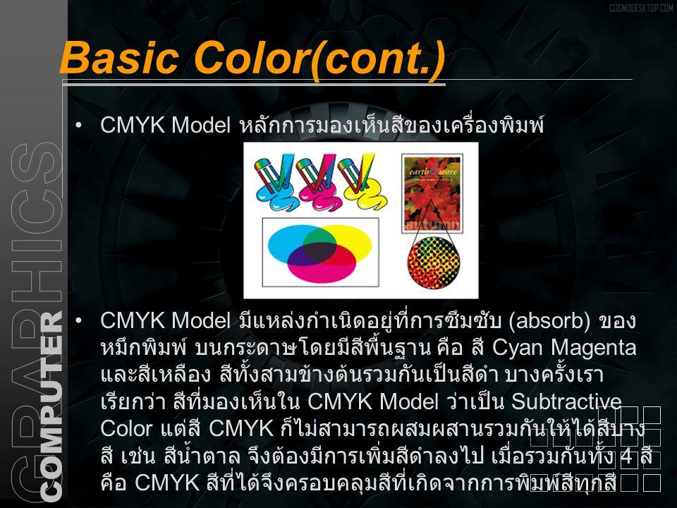 Basic Color(cont.) LAB Model เป็นค่าสีที่ถูกกำหนดขึ้นโดย CIE (Commission Internationaled Eccclairage) ให้เป็นมาตรฐาน การวัดสีทุก รูปแบบ ครอบคลุมทุกสีใน RGB และ CMYK และใช้กับสีที่ เกิดจากอุปกรณ์ทุกอย่าง ไม่ว่าจะเป็น Monitor, Printer, Scanner ฯลฯส่วนประกอบของโหมดสีได้แก่ A.
