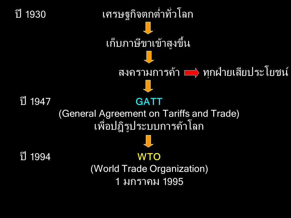 ปี 1930 เศรษฐกิจตกต่ำทั่วโลก เก็บภาษีขาเข้าสูงขึ้น สงครามการค้าทุกฝ่ายเสียประโยชน์ GATT (General Agreement on Tariffs and Trade) เพื่อปฎิรูประบบการค้าโลก ปี 1947 WTO (World Trade Organization) 1 มกราคม 1995 ปี 1994