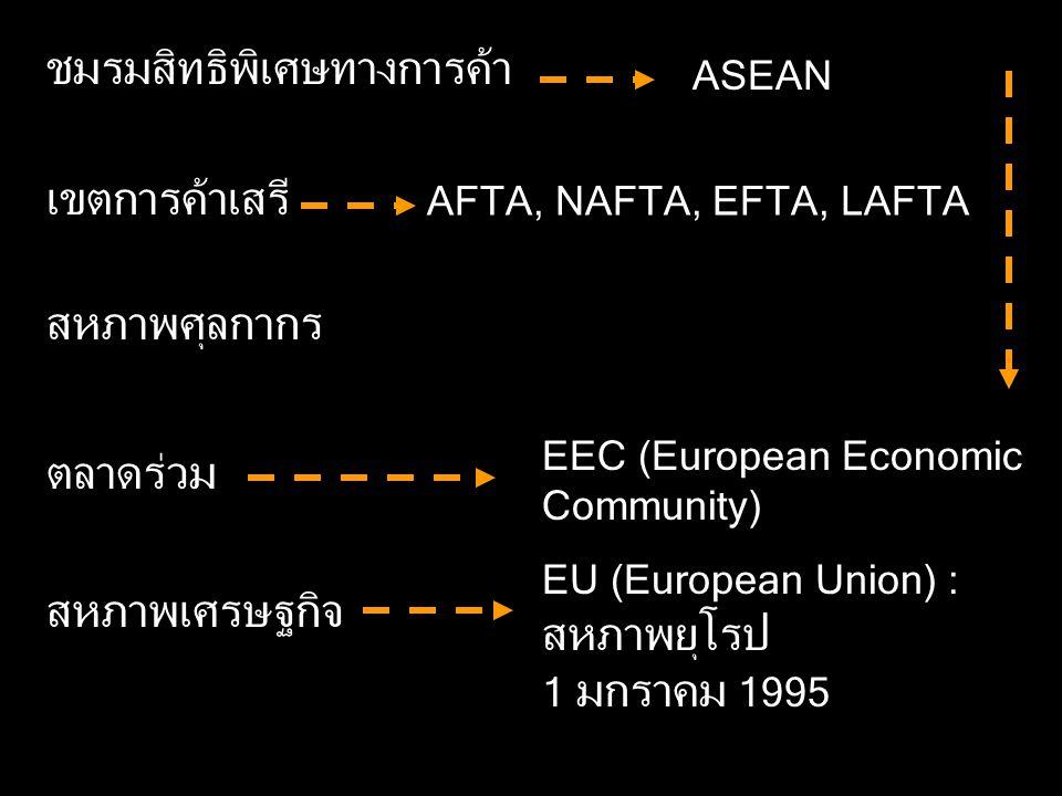 ชมรมสิทธิพิเศษทางการค้า เขตการค้าเสรี สหภาพศุลกากร ตลาดร่วม สหภาพเศรษฐกิจ ASEAN AFTA, NAFTA, EFTA, LAFTA EEC (European Economic Community) EU (European Union) : สหภาพยุโรป 1 มกราคม 1995