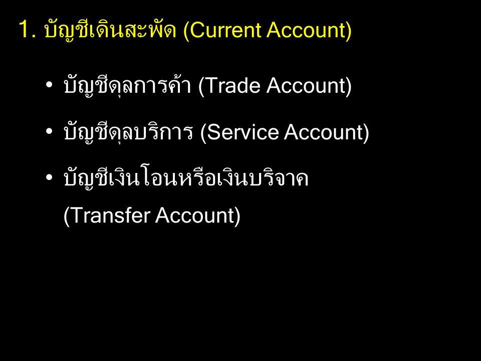1. บัญชีเดินสะพัด (Current Account) บัญชีดุลการค้า (Trade Account) บัญชีดุลบริการ (Service Account) บัญชีเงินโอนหรือเงินบริจาค (Transfer Account)