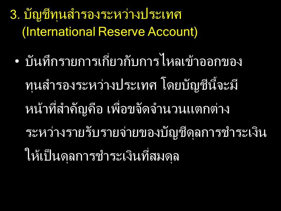 3. บัญชีทุนสำรองระหว่างประเทศ (International Reserve Account) บันทึกรายการเกี่ยวกับการไหลเข้าออกของ ทุนสำรองระหว่างประเทศ โดยบัญชีนี้จะมี หน้าที่สำคัญ