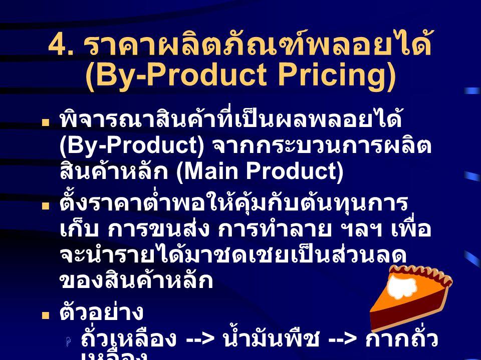 4. ราคาผลิตภัณฑ์พลอยได้ (By-Product Pricing) พิจารณาสินค้าที่เป็นผลพลอยได้ (By-Product) จากกระบวนการผลิต สินค้าหลัก (Main Product) ตั้งราคาต่ำพอให้คุ้