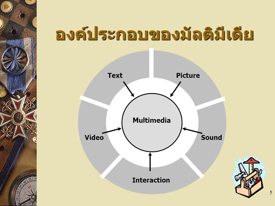 5 องค์ประกอบของมัลติมีเดีย Multimedia TextPicture VideoSound Interaction