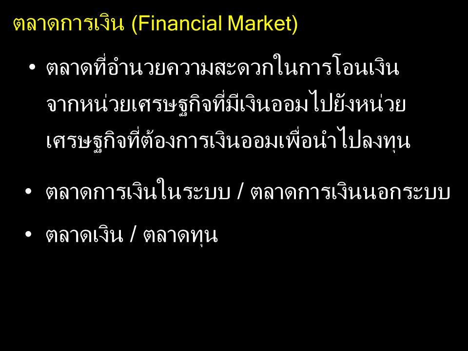 ตลาดการเงิน (Financial Market) ตลาดที่อำนวยความสะดวกในการโอนเงิน จากหน่วยเศรษฐกิจที่มีเงินออมไปยังหน่วย เศรษฐกิจที่ต้องการเงินออมเพื่อนำไปลงทุน ตลาดกา