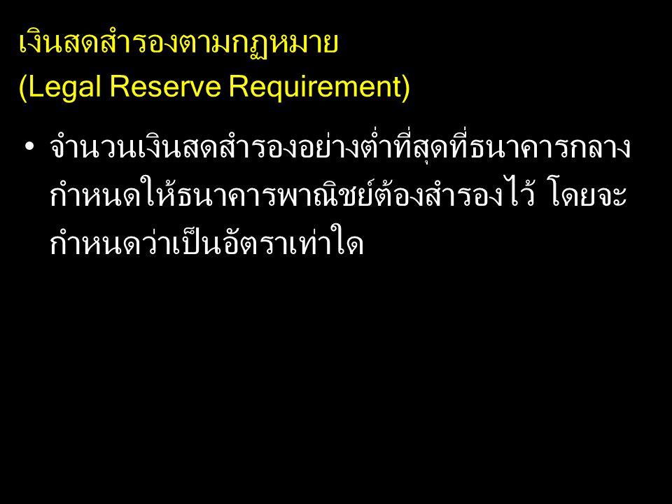 เงินสดสำรองตามกฏหมาย (Legal Reserve Requirement) จำนวนเงินสดสำรองอย่างต่ำที่สุดที่ธนาคารกลาง กำหนดให้ธนาคารพาณิชย์ต้องสำรองไว้ โดยจะ กำหนดว่าเป็นอัตรา