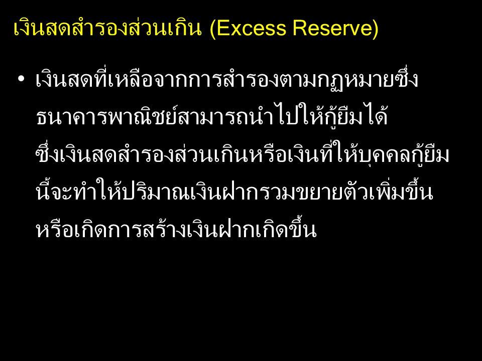 เงินสดสำรองส่วนเกิน (Excess Reserve) เงินสดที่เหลือจากการสำรองตามกฏหมายซึ่ง ธนาคารพาณิชย์สามารถนำไปให้กู้ยืมได้ ซึ่งเงินสดสำรองส่วนเกินหรือเงินที่ให้บ