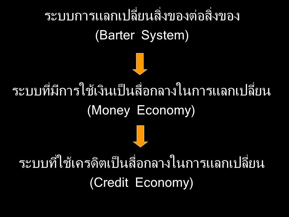 Money Economy สิ่งของจำเป็น เงินโลหะ เงินกษาปณ์ที่มีค่าเต็มตัว (Full - bodied Coins) เงินกษาปณ์ที่มีค่าไม่เต็มตัว (Token Money) เงินกระดาษหรือธนบัตร เงินที่มีโลหะหรือเหรียญมีมูลค่าเต็มตัวสำรองอยู่ ร้อยเปอร์เซ็นต์ เงินที่แลกโลหะคืนไม่ได้ (Fiat Money) (ธนบัตรที่ชำระหนี้ได้ตามกฏหมาย (Legal Tender))