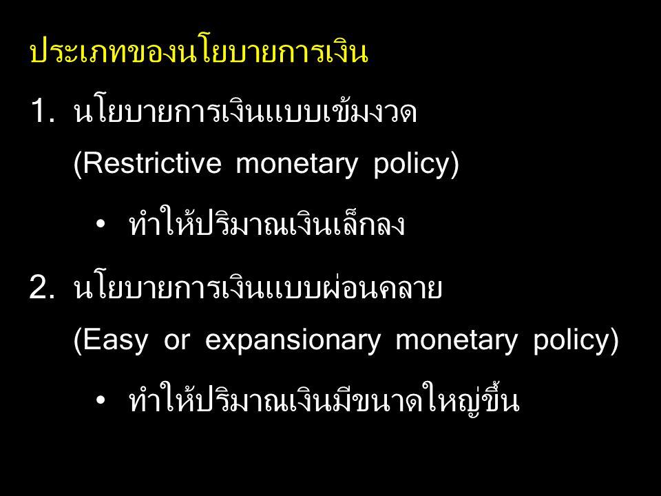 ประเภทของนโยบายการเงิน 1.นโยบายการเงินแบบเข้มงวด (Restrictive monetary policy) ทำให้ปริมาณเงินเล็กลง 2.นโยบายการเงินแบบผ่อนคลาย (Easy or expansionary