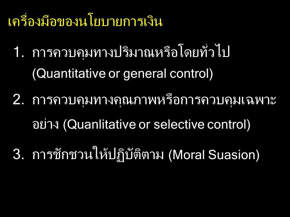 เครื่องมือของนโยบายการเงิน 1.การควบคุมทางปริมาณหรือโดยทั่วไป (Quantitative or general control) 2.การควบคุมทางคุณภาพหรือการควบคุมเฉพาะ อย่าง (Quanlitat