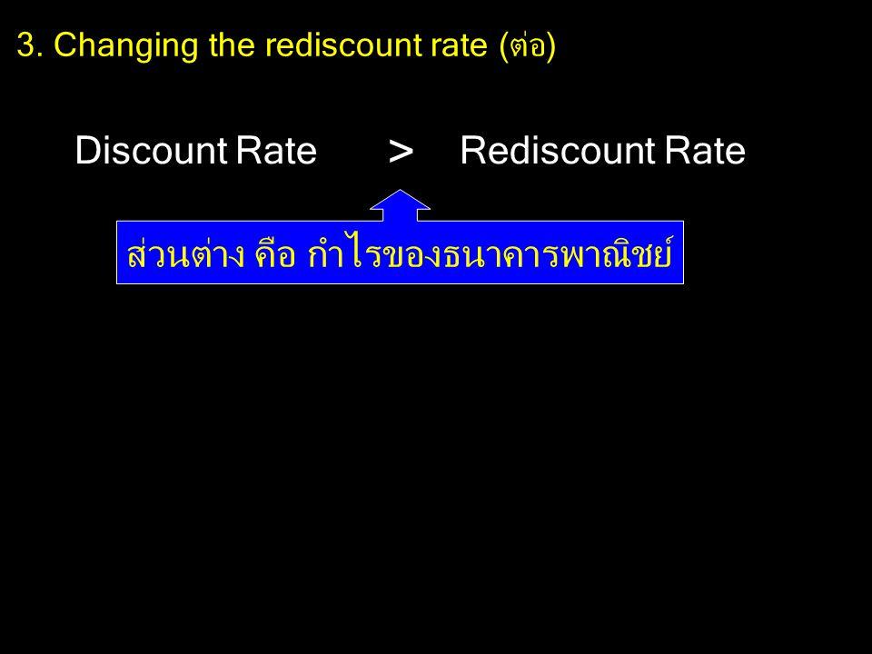 3. Changing the rediscount rate (ต่อ) Discount RateRediscount Rate > ส่วนต่าง คือ กำไรของธนาคารพาณิชย์