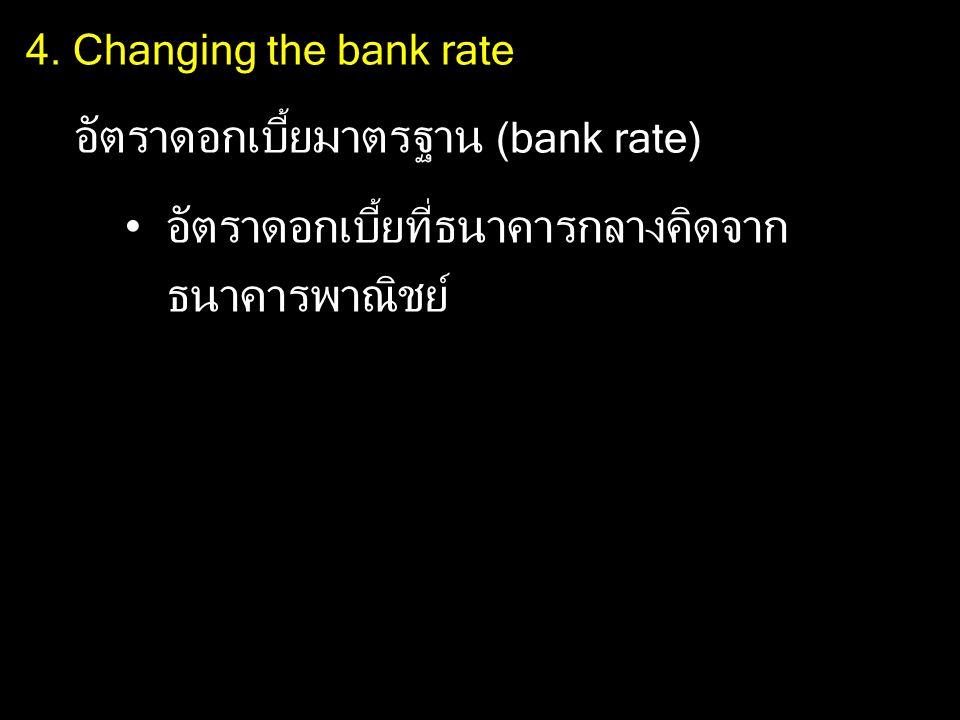 4. Changing the bank rate อัตราดอกเบี้ยมาตรฐาน (bank rate) อัตราดอกเบี้ยที่ธนาคารกลางคิดจาก ธนาคารพาณิชย์